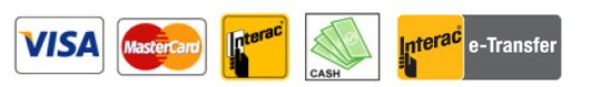 Payment methods | American Express, Visa, MasterCard, Interac, Cash, e-Transfer